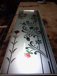 Deep And Color Glass Design Kitchen Glass Doors, Bathroom Window Glass, Window Glass Design, Frosted Glass Design, Glass Closet Doors, Glass Shower Doors, Glass Etching Designs, Glass Painting Designs, Paint Designs