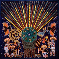 Huichol indian yarn painting of peyote cactus