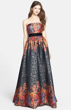 Free shipping and returns on Adrianna Papell Floral Jacquard Strapless Ballgown at Nordstrom.com. A subtle shimmer lends breathtaking luster to the rich floral jacquard of this stunning strapless gown. A lush, velvety inset effortlessly shows off a slim waist before billowing into the gorgeous, floor-sweeping skirt.