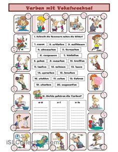 Verben mit Vokalwechsel Arbeitsblatt - Kostenlose DAF Arbeitsblätter