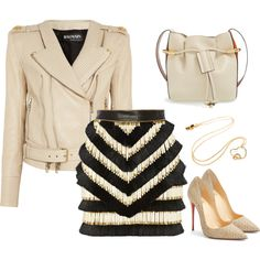 Fashion Set with Lorentz&Co. jewelry, Christian Louboutin Heels, Chloe Bag, Balmain Jacket and Skirt.