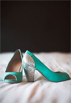 Teal and silver wedding shoes.
