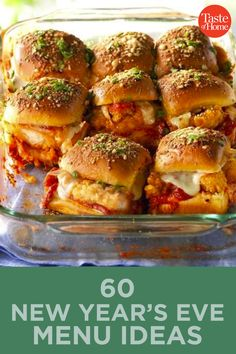60 New Year's Eve Menu Ideas New Recipes, Cooking Recipes, Favorite Recipes, Appetizer Recipes, Dinner Recipes, Appetizers, Slider Sandwiches, Baked Sandwiches, Good Food
