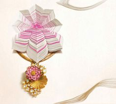 Lotus Necklace enamel,Gold and Polki Diamonds, Zoya Tanishq