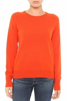 Bright orange, crewneck sweater in cashmere. Rylea Cashmere Crew Neck by AG Jeans. Clothing - Sweaters - Cashmere Long Island, New York