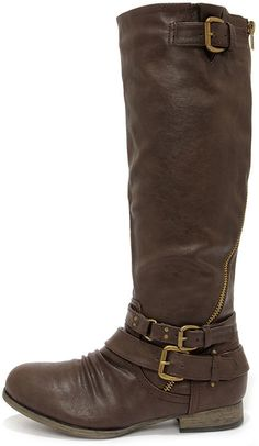 Hitchhiker Brown Buckled Knee High Boots