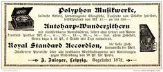 Original-Werbung/ Anzeige 1900 - POLYPHON MUSIKWERKE - ZULEGER - LEIPZIG - ca. 100 x 40 mm