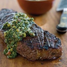 Churrasco-Style Steak with Chimichurri - Chimichurri is a ubiquitous condiment in Argentina. With its bright acidity and bracing garlic and herb flavors, it enlivens and adds flair to churrasco, or South American-style grilled meats. Grilling Recipes, Beef Recipes, Cooking Recipes, Recipies, Carne Asada, A Food, Good Food, Yummy Food, Healthy Food