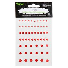 Darice® Flatback Red Adhesive Pearls - 58 pack