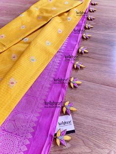 Saree Tassels Designs, Saree Kuchu Designs, Designer Blouse Patterns, Work Sarees, Sewing Stitches, Georgette Sarees, Saree Wedding, Hand Embroidery, Chiffon