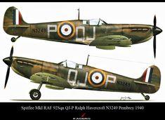 Spitfire-MkI-RAF-92Sqn-QJ-P-Ralph-Havercroft-N3249-Pembrey ...1940