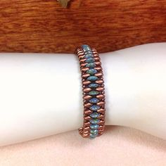 Turquoise and Copper Beaded Bracelet, Super Duo Beaded Bracelet, Lentil Bead Bracelet, Czech Glass Bead on Etsy, $26.00