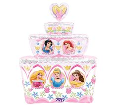 "28"" Disney Princess Cake Balloon, Super Shape foil balloon, character, centerpieces, balloon bouquets, Birthday Princess Party. $7.00, via Etsy."