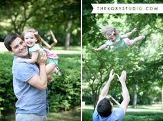 Photography by Samantha McGranahan, The Roxy Studio. Lifestyle photography, little girl, park bench, family photography, father and daughter, play time, Terre Haute, Deming Park