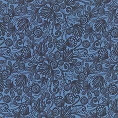 Stoff bomull Blue tropic