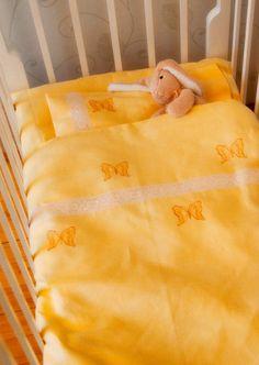 Linen bedding for baby Embroidered Bedding, Yellow linen, Newborn bedding, Duvet, Sheet, Pillowcase