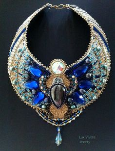 Cobalt Blue Crystal Scarab Necklace by LuxVivensFashion on Etsy