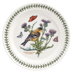 Portmeirion Botanic Garden Birds Dinner Plate, Lesser Goldfinch