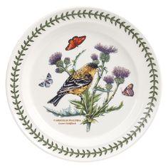 Portmeirion Botanic Garden Birds Dinner Plate, Lesser Goldfinch