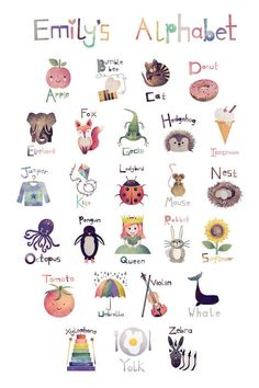 Personalised Alphabet print by AlanaIllustrations on Etsy