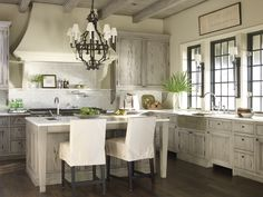 Kitchen by McAlpine Booth & Ferrier. Pale gray washed Pecky Cypress - gorgeous.