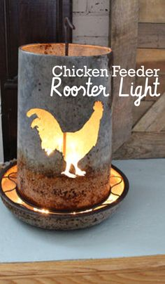 a vintage chicken feeder that has been repurposed into a creative home decoration! It is lit with standard string lights and illuminates the cutout rooster shape on the front of the feeder. This would make a great farmhouse decoration Repurposed Items, Upcycled Crafts, Upcycled Vintage, Rustic Office Decor, Vintage Thrift Stores, Reclaimed Wood Projects, Chicken Feed, Western Furniture, How To Make Tea