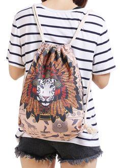 Khaki Lion Print Backpacks 11.99