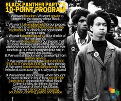 """The 10 Point Black Panther Program. Black History People, Black History Quotes, Black History Month, Weird History Facts, History Jokes, Art History, Black Panther Party, Heritage Quotes, Black Fist"