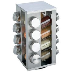 """Chef Secret 16 Jar Stainless Steel Rotating Spice Rack This rotating spice rack contains 16 1/3 cup glass jars with stainless steel lids. Rack measures 5-1/2"""" by 5-1/2"""" by 11"""" tall. This would make a wonderful gift for an anniversary or someone getting married.  Also make a great addition to your own kitchen.  Keep all of your spices in one place.  Adds a great new look to any kitchen.  Limited lifetime warranty.  Gift Boxed."""