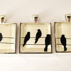 Custom Made Glass Tile Pendant With Blackbird Silhouettes On ...