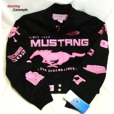 Ford Mustang Collage Ladies Black Pink Twill Jacket Coat Size L Large