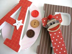 Custom Decorated Wooden Letters SOCK MONKEY THEME