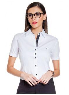 7eac32aa6 Camisa Feminina Social Branca Principessa Crislaine
