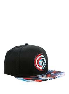Marvel Captain America  Civil War Captain America Vs Iron Man Logo Snapback  Hat  fbe51739545