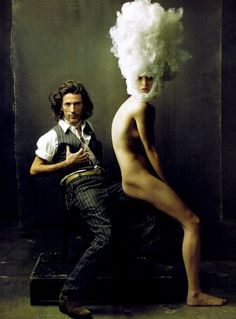 """The Magic Maker"" featuring Hair stylist Julien d'Ys (Pierrick Le Verge) and model Rachel Zimmermann, photographed by Annie Leibovitz for Vogue, March 2009."