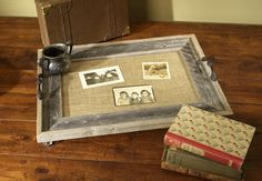 Serving tray from picture frame. I'd love to do this with antique drawer pulls