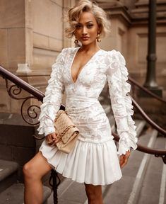 Get the best price of women white lace mini dress online, to buy women midi dress, party mini dress, girls mini dress and fashion lace dress at boutique-shopafashion. White Lace Mini Dress, Sexy Lace Dress, Dress Up, Bodycon Dress, Ruffle Dress, Bandage Dresses, Lace Dress With Sleeves, Lace Ruffle, Chiffon Skirt