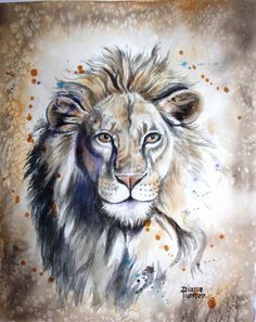 Lion Watercolor Painting Original Limited Edition giclee art print from my original watercolor Lion painting Living Room Decor  8 x 10.