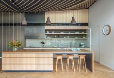 """**Unexpected Pleasures by Meaghan Williams & Susanna Bilardo of [Enoki](https://www.enoki.com.au/ target=""""_blank"""" rel=""""nofollow"""")** A family weekender in Port Willunga was designed to be a complete contrast to the owners' Adelaide home and an expression of its seaside setting. In the kitchen, marine rope has been strung across the ceiling in a chevron pattern to mirror timber floorboards below. The rangehood, usually an unsung performer, is the unexpected hero of this space. Custom-made in…"""