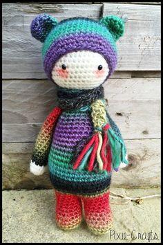 Handmade Crochet Amigurumi Mini Rainbow Bina by PixieCraftDolls