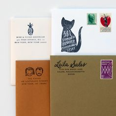 customized return address stamps. Each stamp is manufactured right here in the USA with a laser-cut rubber pad and wood handle. via Idlewild Co.