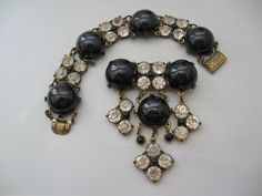 Vintage Early Plastic and Rhinestone Brooch-Pin and Bracelet Set