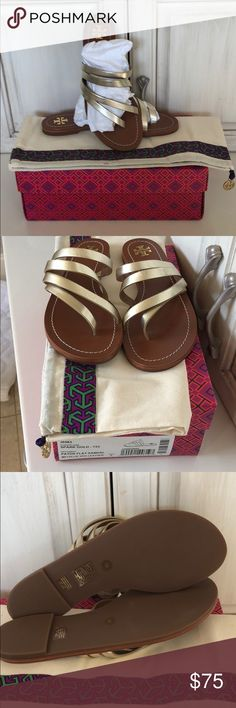 Tory Burch Gold Metallic Flat sandals size 7 Tory Burch Metallic Gold Leather Flat Sandals size 7.  NIB. Comes with Tory Burch Bag & Box for storage. Tory Burch Shoes Sandals