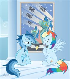 https://photography-classes-workshops.blogspot.com/ #Photography Rainbow dashs kids looking at a wonderbolt poster and Ragtag is saying I will be a wonderbolt and shooting star is saying ya not going to happen.
