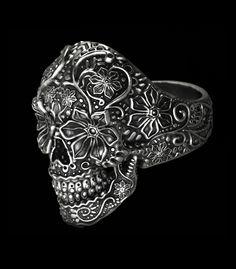 Sugar Skull Ring by Nacho Riesco Organic Sculpture, Skull Rings, Zbrush, Sugar Skull, Sculpting, Sculptures, Men's Fashion, Jewelry Design, Accessories
