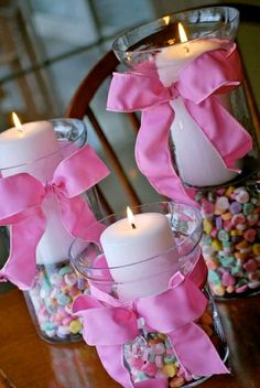 This is cute! Clear hurricane glass with a candle holder inside then covered up with Jelly Beans for Easter or Candy Hearts for Valentine's Day. @ Do It Yourself Pins