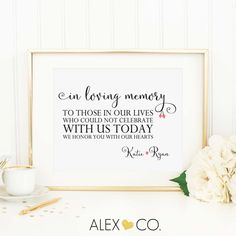 Personalized In Loving Memory Wedding Printable  • LISTING INCLUDES • • 1 Personalized High Resolution JPG • 1 Personalized 8 x 10 PDF •