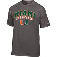 Champion Men's Miami Hurricanes Grey T-Shirt, Size: Medium, Team