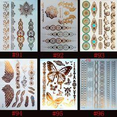 6 designs/set Neue Metallic Gold Silber Body Art Tattoo Sexy Ungiftig Flash Tattoos Aufkleber Für frauen