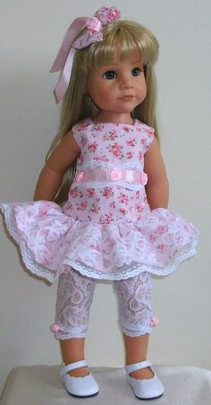"Vintagebaby dress leggings & hair bow 18-20"" dolls Gotz/Designafriend Hannah"